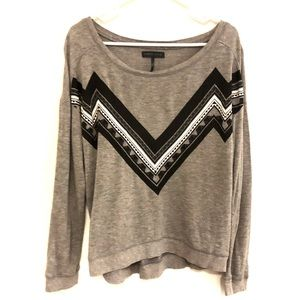 Kendall & Kylie Grey Sweater Aztec Top